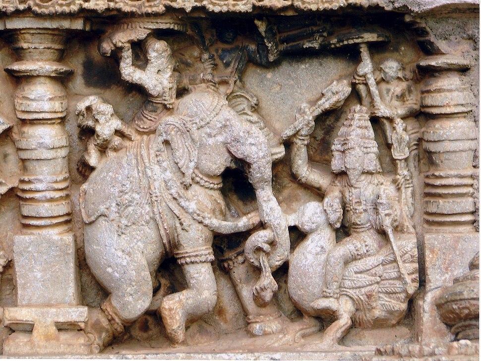Battle scene in relief in Amruthesvara Temple at Amruthapura in Chikkamagaluru district