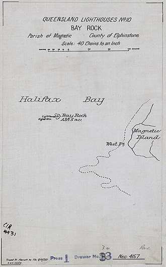 Bay Rock Light - Chart of the original location of Bay Rock Light, chart made in 1921