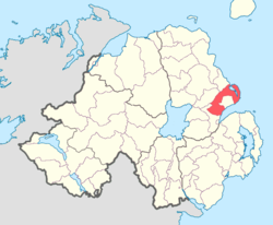 Location of Belfast Lower, County Antrim, Northern Ireland.