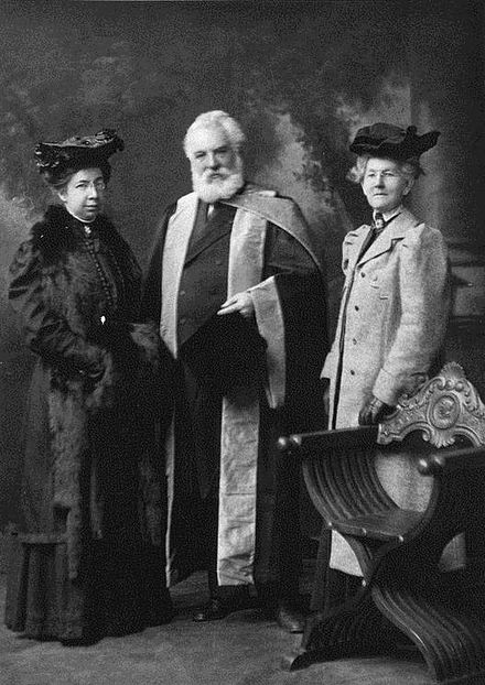Bell, an alumnus of the University of Edinburgh, Scotland, receiving an honorary Doctor of Laws degree (LL.D.) at the university in 1906 Bell receives honourary LL.D from University of Edinburgh.jpg