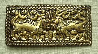 Origin of the Huns - A belt buckle produced by the Ordos culture, 3-1 Century BCE.