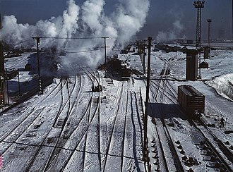 Belt Railway of Chicago - Looking toward the west yard of clearing yard, 1943.