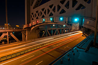 Transportation in Philadelphia - View of the Benjamin Franklin Bridge roadway from the pedestrian path