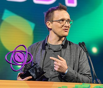 Getting Over It with Bennett Foddy - Foddy receiving the Nuovo Award for Getting Over It at the 2018 Independent Games Festival