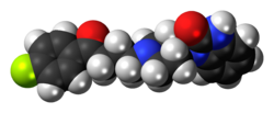 Space-filling model of the benperidol molecule