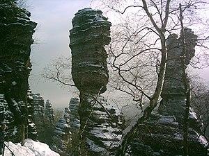Elbe Sandstone Mountains - Hercules pillars in the Biela valley