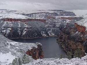 Bighorn Canyon National Recreation Area - Snowfall on the Bighorn Canyon in the North District