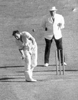 Bill Johnston (cricketer) - Johnston bowling against the West Indies at the Melbourne Cricket Ground in 1952.