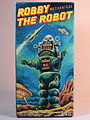 Billiken Shokai Tin Wind Up Robby the Robot with Disintegrator Ray Gun Olive Green Version Box Art.jpg