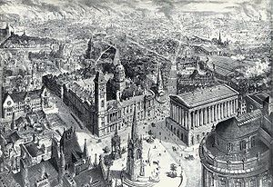 Chamberlain Memorial - Bird's-eye view of Birmingham city centre in 1886, with the Chamberlain Memorial prominent in the foreground