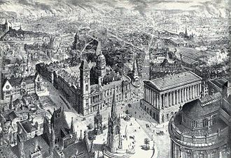 Christ Church, Birmingham - Christ Church can be seen in the centre of this print of 1886 between the Town Hall and the Council House