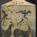 Black figure lekythos, 510-500 BC, Nikai, roosters, AM Syracuse, 121436.jpg