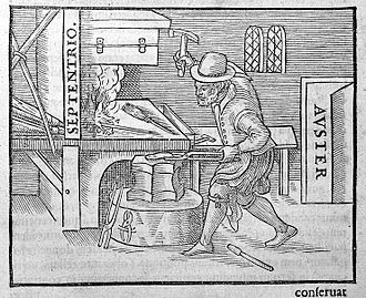 Magnetism - An illustration from Gilbert's 1600 De Magnete showing one of the earliest methods of making a magnet. A blacksmith holds a piece of red-hot iron in a north-south direction and hammers it as it cools. The magnetic field of the Earth aligns the domains, leaving the iron a weak magnet.