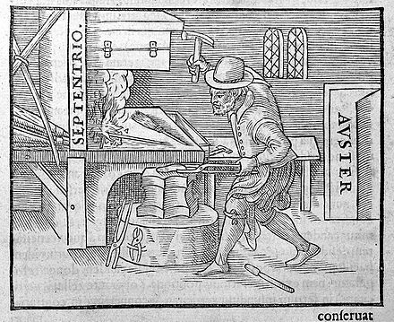 An illustration from Gilbert's 1600 De Magnete showing one of the earliest methods of making a magnet. A blacksmith holds a piece of red-hot iron in a north-south direction and hammers it as it cools. The magnetic field of the Earth aligns the domains, leaving the iron a weak magnet. Blacksmith at the anvil. Wellcome L0005875.jpg