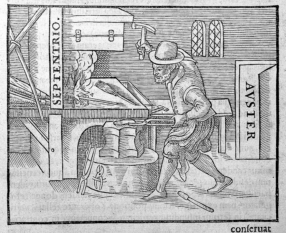 Blacksmith at the anvil. Wellcome L0005875
