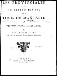 <i>Lettres provinciales</i> Letters published 1656-57 by Blaise Pascal addressing religious controversy in France