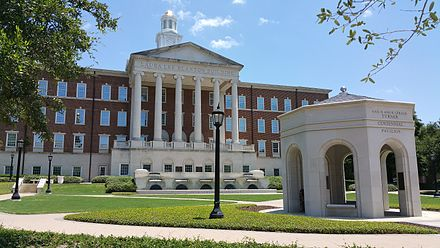 The Laura Lee Blanton Student Services Building with the Centennial Quadrangle in the foreground Blanton Building at SMU.jpg