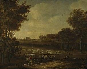 Blekerij aan de duinrand met Haarlem in de verte