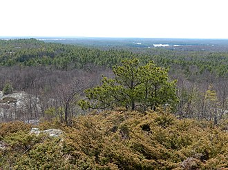 Charleston Lake Provincial Park - View southwest from Blue Mountain to Long Mountain and Charleston Lake