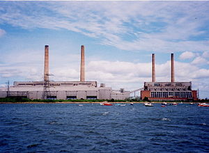 Blyth Power Station - Blyth A (right) and B (left) power stations, viewed from the south bank of the River Blyth in June 2000