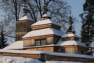 Building material - Wooden church in Bodružal in Slovakia.