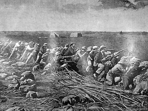Siege of Mafeking - Picture from The Graphic of Boers firing from their trenches at the siege.