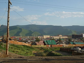 Bogd Khan Mountain - View from Ulaanbaatar to the northern side of the mountain