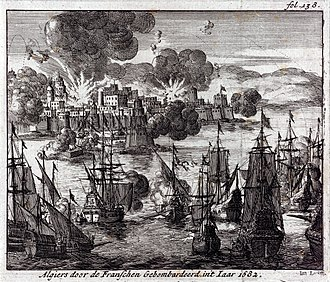French Navy - Admiral Duquesne bombing Algiers in 1682