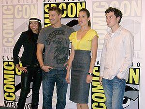 Bones (TV series) - Bones cast (from left): Tamara Taylor, David Boreanaz, Michaela Conlin, John Francis Daley