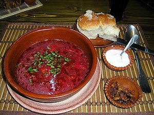 Soviet cuisine - Ukrainian borscht with smetana, pampushky, and shkvarkas
