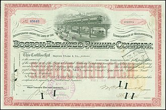Boston Elevated Railway - Share of the Boston Elevated Railway Company, issued 2. March 1918