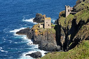 Tin mining in Britain - The ruined engine houses of Crown Mines, Botallack, Cornwall