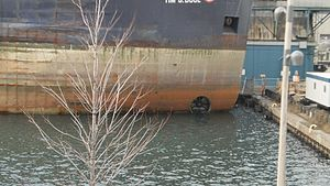 Bow thruster of the lake freighter Tim S. Dool, moored at the Redpath Sugar Refinery -a.jpg