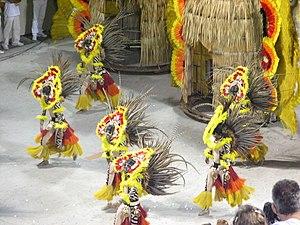 Brazilian Carnival parade in Rio de Janeiro.