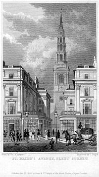 St Bride's Church, 19th century etching
