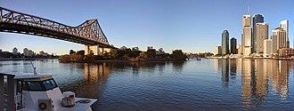 Story Bridge - Panorama showing the location of the Story Bridge (left) relative to the Brisbane CBD.