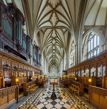 Vaulting of the choir Bristol Cathedral Choir 1, Bristol, UK - Diliff.jpg