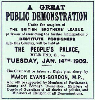 British Brothers League anti-immigration organisation of the early 20th century