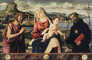 Andrea Busati - Andrea Busati, Madonna and Child with Saints John the Baptist and Nicholas of Tolentino, tempera and oil on poplar panel, 72.1 × 111.1 cm, ca. 1500. Brooklyn Museum