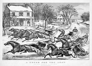 "Sleigh Ride - ""A Brush for the Lead"", lithograph by Currier and Ives, 1867. The song's lyrics compare a sleigh ride to a ""picture print by Currier and Ives"" (a 19th-century printing company that closed in 1907, 43 years before the song's lyrics were written)."