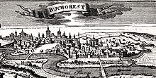 Bucharest, woodcut, published in Leipzig in 1717.jpg