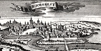 Bucharest - Early 18th century woodcut of Bucharest (1717)
