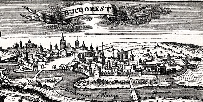 Early 18th century woodcut of Bucharest (1717) Bucharest, woodcut, published in Leipzig in 1717.jpg