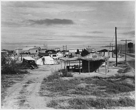 Private auto camp for cotton pickers in Buckeye, 1940 Buckeye, Maricopa County, Arizona. Private auto camp for cotton pickers, camp manager's store in for . . . - NARA - 522538.jpg