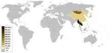 Les plus fortes concentrations se trouvent en Extrême orient; le pourcentage est inférieur à 10 en Inde, Russie, Europe occidentale et Amérique du Nord
