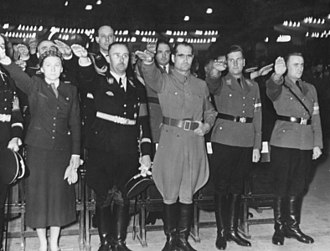 Artur Axmann - Gertrud Scholtz-Klink, Himmler, Hess, von Schirach and Axmann (from left) at a Hitler Youth rally, Berlin Sportpalast, 13 February 1939.