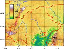 ブルキナファソ-行政区画-Burkina Faso Topography