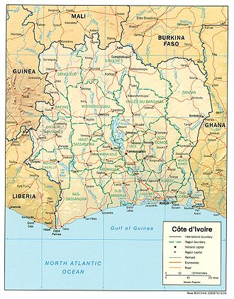 Geography of Ivory Coast - Image: Côte d'Ivoire Map