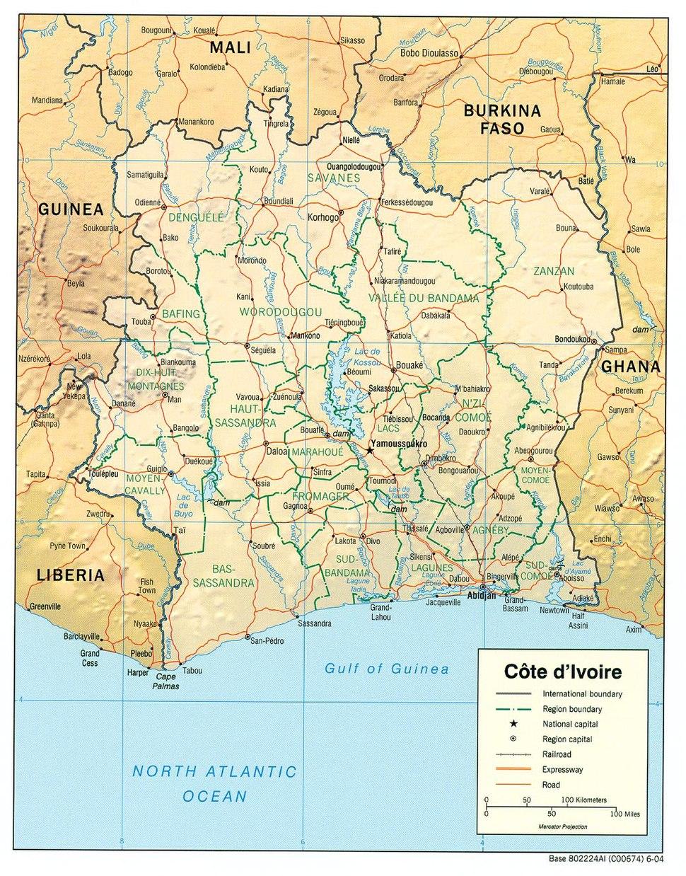 Côte d'Ivoire Map