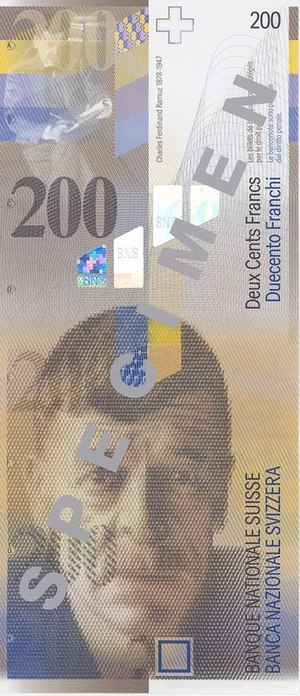 Charles-Ferdinand Ramuz - Charles-Ferdinand Ramuz on a 200-francs Swiss banknote.